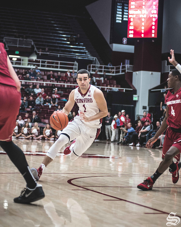 Christian Sanders #1 vs. Washington State on January 12, 2017 at Maples Pavilion in Stanford, CA. Photo by Ryan Jae.