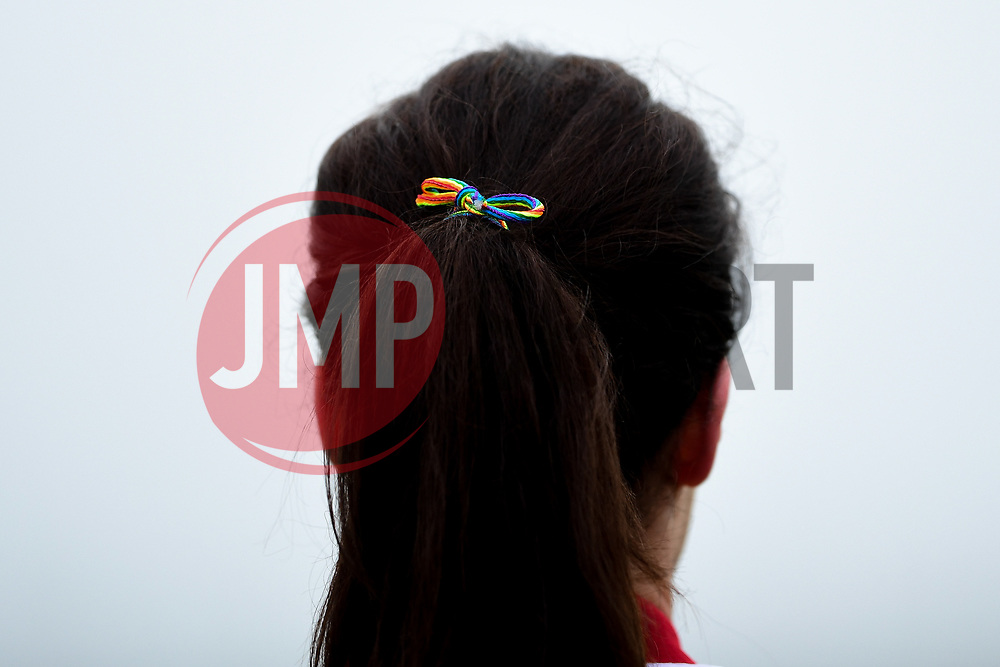 Rainbow Laces tied into a bow in Olivia Chance of Bristol City's hair prior to kick off - Mandatory by-line: Ryan Hiscott/JMP - 24/11/2019 - FOOTBALL - Stoke Gifford Stadium - Bristol, England - Bristol City Women v Manchester City Women - Barclays FA Women's Super League