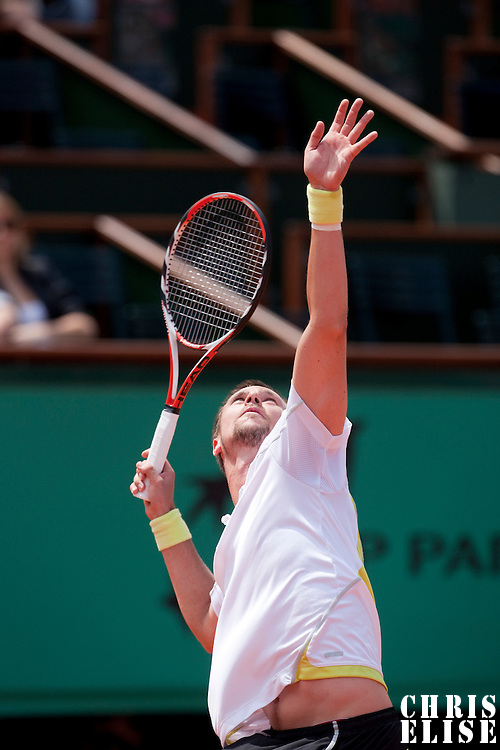 5 June 2009: Robin Soderling of Sweden serves during the Men's Singles Semi Final match on day thirteen of the French Open at Roland Garros in Paris, France.