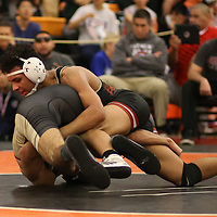 Eli Clark of Fremont defeats Miguel Reyes of Cupertino in the 2018 SCVAL Wrestling Finals (132 lb)(Photo by Bill Gerth)