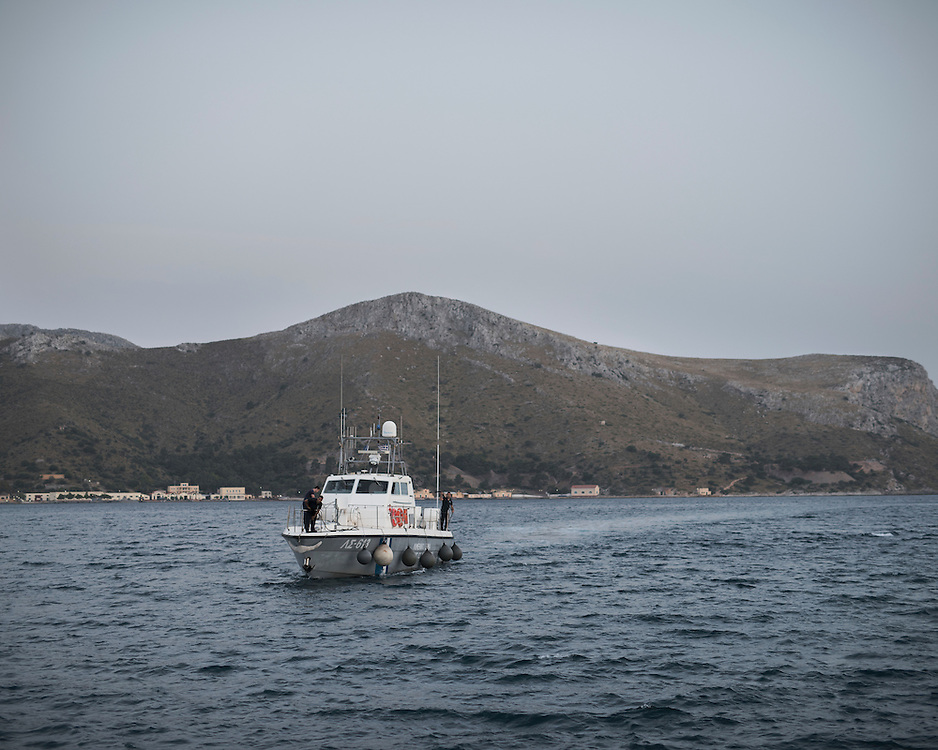 A Greek coast guard boat approaching the port of Lakki. It is a boat like that, that transports the refugees and migrants from Farmakonisi to Leros.