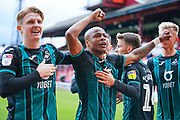 Swansea City forward Andre Ayew (22) scores a goal and celebrates to make the score 0-1 during the EFL Sky Bet Championship match between Barnsley and Swansea City at Oakwell, Barnsley, England on 19 October 2019.