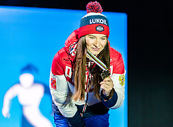 23.02.2019, Medal Plaza, Seefeld, AUT, FIS Weltmeisterschaften Ski Nordisch, Seefeld 2019, Skiathlon, Damen, 15km, Siegerehrung, im Bild Bronzemedaillengewinnerin Natalia Nepryaeva (RUS) // Bronce medalist Natalia Nepryaeva of Russian Federation during the winner Ceremony for the ladie's 15km Skiathlon competition of FIS Nordic Ski World Championships 2019 at the Medal Plaza in Seefeld, Austria on 2019/02/23. EXPA Pictures © 2019, PhotoCredit: EXPA/ Stefan Adelsberger