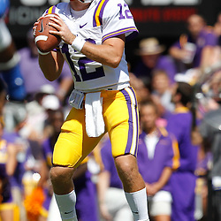 October 1, 2011; Baton Rouge, LA, USA;  LSU Tigers quarterback Jarrett Lee (12) against the Kentucky Wildcats during the third quarter at Tiger Stadium. LSU defeated Kentucky 35-7. Mandatory Credit: Derick E. Hingle-US PRESSWIRE / © Derick E. Hingle 2011