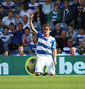 Gabriele Angella (QPR defender) trying to get the ref's attention after a head injury on his debut during the Sky Bet Championship match between Queens Park Rangers and Nottingham Forest at the Loftus Road Stadium, London, England on 12 September 2015. Photo by Matthew Redman.