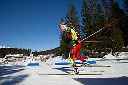 DOMRACHEVA Darya of Belarus competes during Women 12.5 km Mass Start competition of the e.on IBU Biathlon World Cup on Sunday, March 9, 2014 in Pokljuka, Slovenia. Photo by Vid Ponikvar / Sportida
