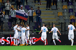 Playesr of Slovenia celebrate after scoring a goal during football match between National teams of Slovenia and Switzerland at Round 2 of Euro 2016 Qualifications, on October 9, 2014 in Stadium Ljudski vrt, Maribor, Slovenia. Photo by Matic Klansek Velej / Sportida.com