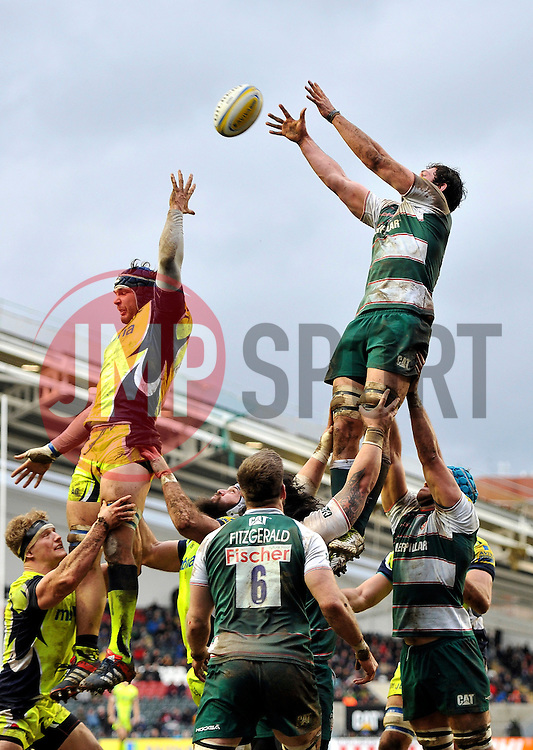 Dom Barrow of Leicester Tigers rises high to win lineout ball - Mandatory byline: Patrick Khachfe/JMP - 07966 386802 - 06/02/2016 - RUGBY UNION - Welford Road - Leicester, England - Leicester Tigers v Sale Sharks - Aviva Premiership.