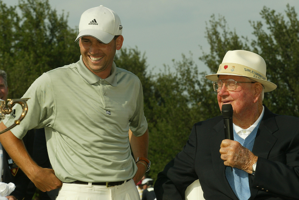 Sergio Garcia, Byron Nelson (l-r)..2004 EDS Byron Nelson Championship.TPC at Las Colinas.Irving, TX.Final Round.Sunday, May 16, 2004..photograph by Darren Carroll..