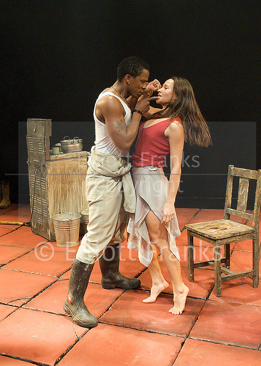 Mies Julie<br /> by August Strindberg<br /> directed by Yael Farber<br /> at Riverside Studios, Hammersmith, London, Great Britain <br /> 8th March 2013 <br /> press photocall<br /> <br /> Thandiwe Nofirst Lungisa<br /> singer and musician <br /> <br /> <br /> Hilda Cronje as Mies Julie<br /> <br /> Bongile Mantsai as John<br /> <br /> Thoko Ntshinga as Christine<br /> <br /> Photograph by Elliott Franks