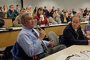 Frank Chavez, a resident of New Mexico, takes a moment to field a question to the panel of air quality scientist during the public science forum on the Four Corners methane study, the forum was held at San Juan College.
