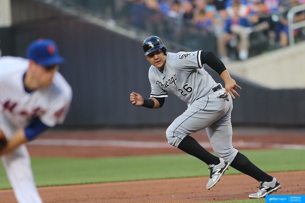NEW YORK, NEW YORK - May 31:  Avisail Garcia #26 of the Chicago White Sox running to second base during the Chicago White Sox Vs New York Mets regular season MLB game at Citi Field on May 31, 2016 in New York City. (Photo by Tim Clayton/Corbis via Getty Images)