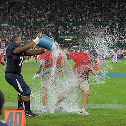 16.07.2011, Ernst Happel Stadion, Wien, AUT, American Football WM 2011, Germany (GER) vs France (FRA), im Bild eiskalte Dusche für die Coaches // during the American Football World Championship 2011 game, Germany vs France, at Ernst Happel Stadion, Wien, 2011-07-16, EXPA Pictures © 2011, PhotoCredit: EXPA/ G. Holoubek