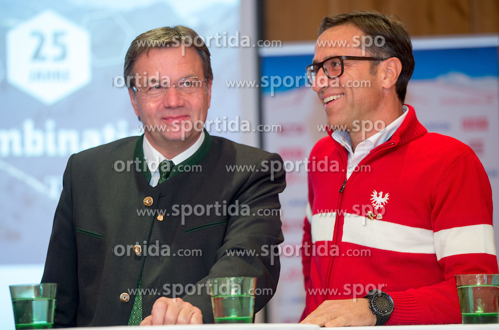24.10.2014, Hotel Central, Soelden, AUT, FIS Weltcup, Ski Alpin, ÖSV Pressekonferenz, im Bild LH Guenther Platter, Josef Margreiter (Tiorl Werbung) // Tyrol Governor Guenther Platter and Josef Margreiter CEO Tyrol Marketing during press conference of Austrian Ski Team prior to the FIS Ski Alpine Worldcup opening at the Hotel Central in Soelden, Austria on 2014/10/24. EXPA Pictures © 2014, PhotoCredit: EXPA/ Johann Groder
