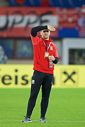VIENNA, AUSTRIA - Thursday, October 6, 2016: Wales' Sam Vokes inspects the pitch ahead of the 2018 FIFA World Cup Qualifying Group D match at the Ernst-Happel-Stadion. (Pic by David Rawcliffe/Propaganda)
