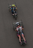 Lizzie Tench leads David Cooke during the Prudential RideLondon Elite Handcycle Grand Prix. Prudential RideLondon 28/07/2017<br /> <br /> Photo: Bob Martin/Silverhub for Prudential RideLondon<br /> <br /> Prudential RideLondon is the world&rsquo;s greatest festival of cycling, involving 100,000+ cyclists &ndash; from Olympic champions to a free family fun ride - riding in events over closed roads in London and Surrey over the weekend of 28th to 30th July 2017. <br /> <br /> See www.PrudentialRideLondon.co.uk for more.<br /> <br /> For further information: media@londonmarathonevents.co.uk