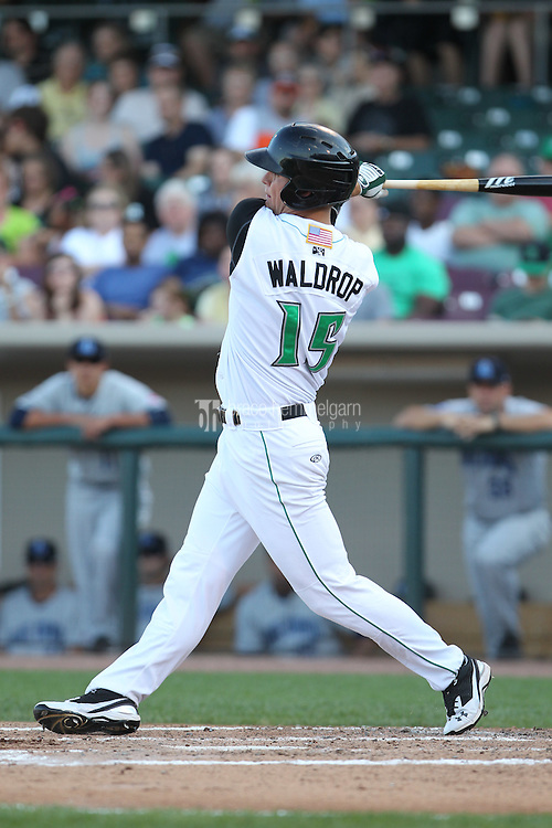 Dayton Dragons outfielder Kyle Waldrop #15 bats during a game against the Lake County Captains at Fifth Third Field on June 25, 2012 in Dayton, Ohio. Lake County defeated Dayton 8-3. (Brace Hemmelgarn)