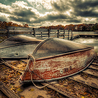 Park district row boats upturned in the autumn for the coming winter beside lake under grey skies