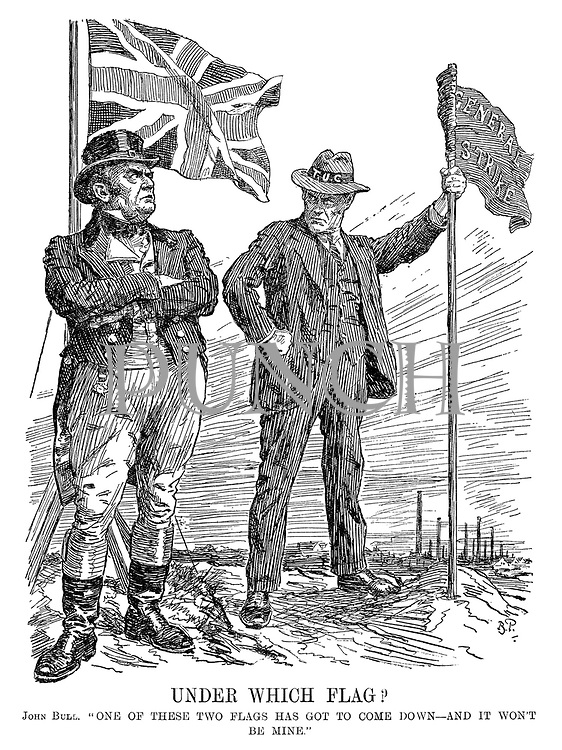 "Under Which Flag? John Bull. ""One of these two flags has got to come down - and it won't be mine."" [Trades Union Congress holds the General Strike flag as John Bull defiantly stands infront of the British flag]"