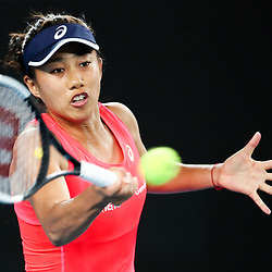 Tennis: open de Melbourne. (200120) -- MELBOURNE, Jan. 20, 2020 (Xinhua) -- Zhang Shuai of China hits a return duirng the women's singles first round match between Sloane Stephens of the United States and Zhang Shuai of China at the Australian Open tennis championship in Melbourne, Australia on Jan. 20, 2020. (Xinhua/Bai Xuefei)<br /> <br /> <br /> <br /> 250084 2020-01-20  MELBOURNE <br /> <br /> Photo by Icon Sport - Zhang SHUAI