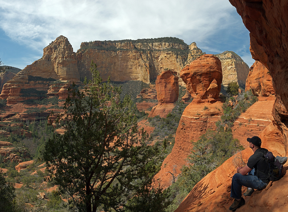 High in the back of Boynton Canyon looking out to some gargantuan balance rocks.