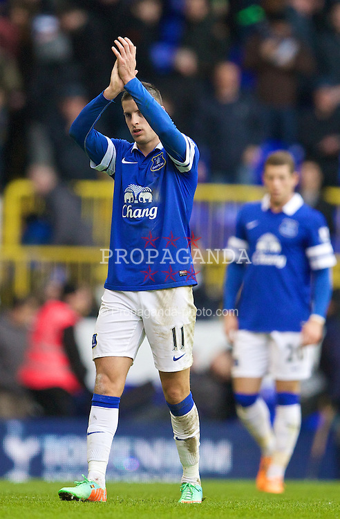 LONDON, ENGLAND - Sunday, February 9, 2014: Everton's Kevin Mirallas walks off dejected after losing 1-0 to Tottenham Hotspur during the Premiership match at White Hart Lane. (Pic by David Rawcliffe/Propaganda)