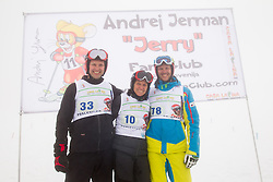 Andrej Jerman with his mother Ana and brother Izidor during last race of A.  Jerman, Slovenian best downhill skier when he finished his professional alpine ski career on April 6, 2013 in Krvavec Ski resort, Slovenia. (Photo By Vid Ponikvar / Sportida)