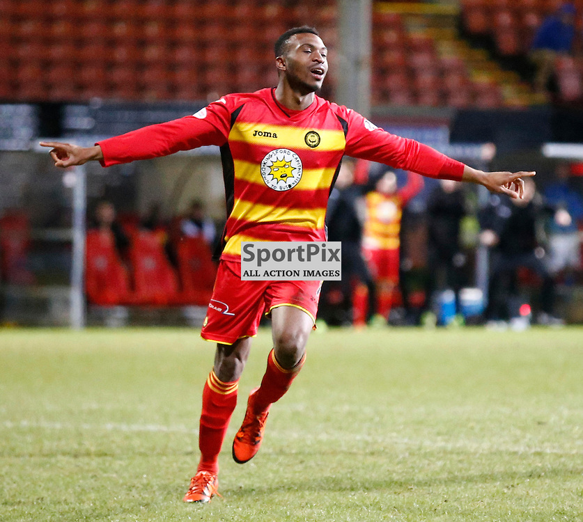 Partick Thistle v St.Johnstone in the Ladbrokes Premiership.... David Amoo (Partick Thistle) makes it 2-0 ....(c) STEPHEN LAWSON | SportPix.org.uk