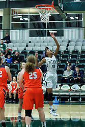 BLOOMINGTON, IL - December 15: Raven Hughes during a college women's basketball game between the IWU Titans  and the Carroll Pioneers on December 15 2018 at Shirk Center in Bloomington, IL. (Photo by Alan Look)