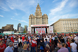 LIVERPOOL, ENGLAND - Monday, May 9, 2016: Liverpool's players at the launch of the New Balance 2016/17 Liverpool FC kit at a live event in front of supporters at the Royal Liver Building on Liverpool's historic World Heritage waterfront. (Pic by David Rawcliffe/Propaganda)