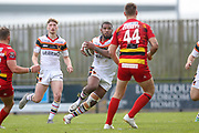 Bradford Bulls replacement Ross Peltier (17) in action  during the Kingstone Press Championship match between Dewsbury Rams and Bradford Bulls at the Tetley's Stadium, Dewsbury, United Kingdom on 10 September 2017. Photo by Simon Davies.