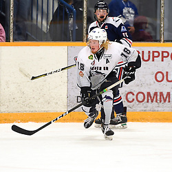 DRYDEN, ON - MAY 2: Woody Galbraith #18 of the Dryden GM Ice Dogs pursues the play in the second period during Game Four of the Central Canadian Junior Championship during the 2018 Dudley Hewitt Cup on May 2, 2018 at the Dryden Memorial Arena in Dryden, Ontario, Canada. (Photo by Andy Corneau/DHC via OJHL Images)
