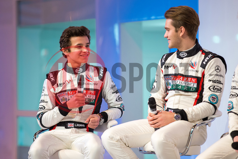 Rising star and 2017 McLaren Autosport BRDC Award Winner Lando Norris (L) is interviewed on stage at Autosport International, the season opening motorport show - Rogan Thomson/JMP - 12/01/2017 - MOTORSPORT - The NEC - Birmingham, England - Autosport International Day 1.