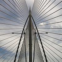 Malaysia, Kuala Lumpur, Converging cables and pylons of Putrajaya Bridge 8 in center of new administrative capital city of Putrajaya