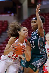10 December 2017: Katrina Beck drives in on Danielle Minott during an College Women's Basketball game between Illinois State University Redbirds and the Eagles of Eastern Michigan at Redbird Arena in Normal Illinois.
