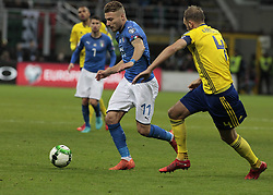 November 13, 2017 - Milan, Italy - Ciro Immobile during the playoff match for qualifying for the Football World Cup 2018  between Italia v Svezia, in Milan, on November 13, 2017. (Credit Image: © Loris Roselli/NurPhoto via ZUMA Press)