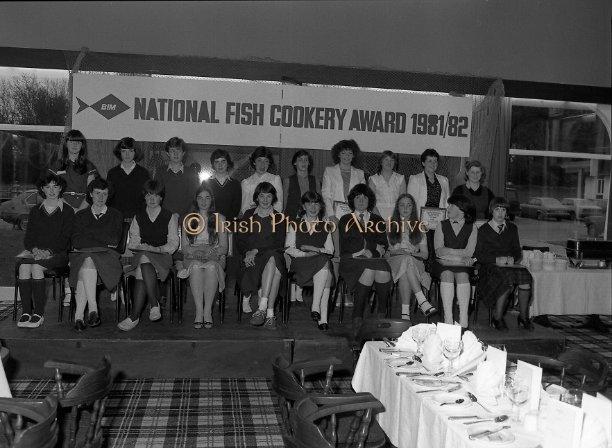 """The National Fish Cookery Award""..29.04.1982..04.29.1982.29th April 1982.1982..This competition sponsored by Bord Iascaigh Mhara was held in The Clare Inn, Newmarket-on Fergus,Co Clare. the competition was open to schools across the country.The finalists:(L-R) Front Row. Edel McCormack,Roscommon. Maura Geaney,Galway. Dorothy Branley,Sligo. Ruth O'Connor,Roscommon. Deirdre Nolan,Carlow. Josephine Brennan,Carlow. Evelyn Corrigan,Wexford. Miriam Henshaw,Dublin. Ruth Jackson,Dublin..Back row. Una Daly,Wicklow. Katriona Power,Dublin. Grainne Finnan,Monaghan. Martina Jordan,Longford. Sarah Gilhooley,Westmeath. Catherine O'Sullivan,Laois. Jacqueline Williams,Cork. Caroline Tutty,Waterford. Martha Browne, Kerry. Rosanna Stone, Tipperary."