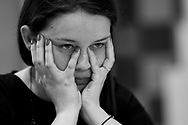 Warsaw, Poland - 2017 March 29: Chess player Karina Szczepkowska (MKSz Rybnik) plays chess during the game while Polish Chess Championship at Stock Exchange Center on March 29, 2017 in Warsaw, Poland.<br /> <br /> Mandatory credit:<br /> Photo by © Adam Nurkiewicz / Mediasport<br /> <br /> Adam Nurkiewicz declares that he has no rights to the image of people at the photographs of his authorship.<br /> <br /> Picture also available in RAW (NEF) or TIFF format on special request.<br /> <br /> Any editorial, commercial or promotional use requires written permission from the author of image.<br /> <br /> Image can be used in the press when the method of use and the signature does not hurt people on the picture.