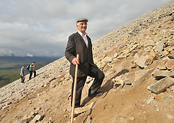 Steady Climing ......John Maughan from Ballycastle Co Mayo pictured on his way to the summit of Croagh Patrick yesterday.<br /> Pic Conor McKeown