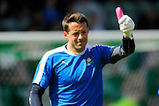 Plymouth Argyle goalkeeper Luke McCormick before the Sky Bet League 2 match between Plymouth Argyle and Dagenham and Redbridge at Home Park, Plymouth, England on 23 April 2016. Photo by Graham Hunt.