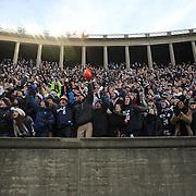 Yale fans celebrate a touchdown during the Harvard Vs Yale, College Football, Ivy League deciding game, Harvard Stadium, Boston, Massachusetts, USA. 22nd November 2014. Photo Tim Clayton