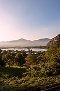 ITALY, Franciacorta area, Provaglio D'Iseo, view of the Riserva Naturale Torbiere del Sebino from the trai station