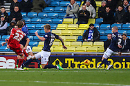 Patrick Bamford of Middlesbrough scores his team's second goal against Millwall to make it 0-2 during the Sky Bet Championship match at The Den, London<br /> Picture by David Horn/Focus Images Ltd +44 7545 970036<br /> 06/12/2014