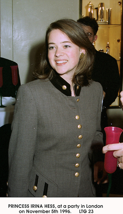 PRINCESS IRINA HESS, at a party in London on November 5th 1996.                             LTG 23