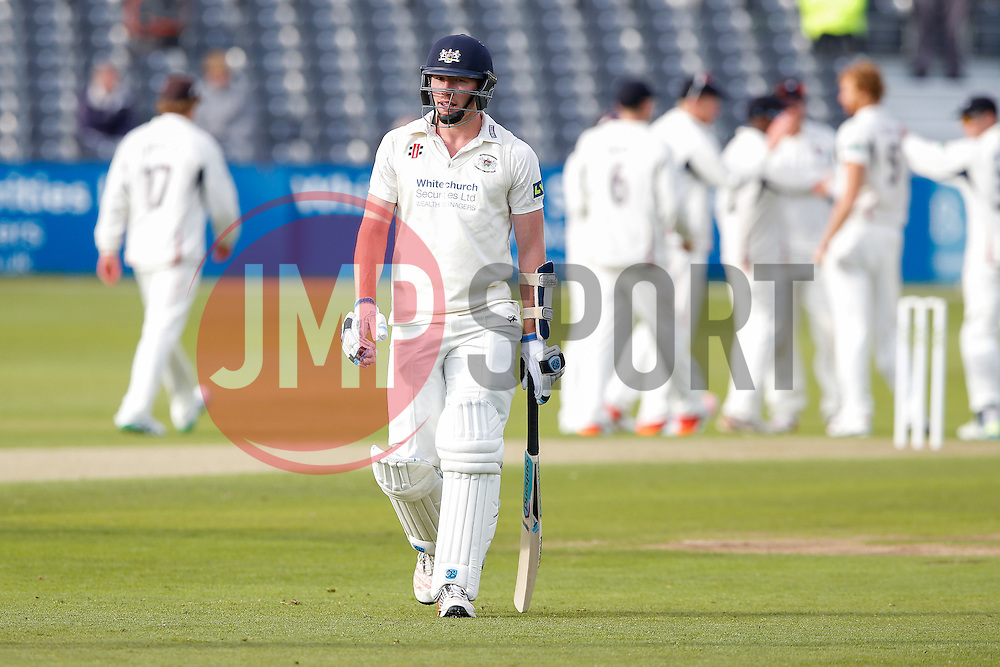 Liam Norwell of Gloucestershire leaves the pitch dejected after he is caught out for 4 - Photo mandatory by-line: Rogan Thomson/JMP - 07966 386802 - 18/05/2015 - SPORT - CRICKET - Bristol, England - Bristol County Ground - Gloucestershire v Kent - Day 1 - LV= County Championship Division Two.