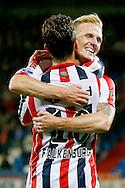 19-09-2015 VOETBAL:WILLEM II- FC UTRECHT:TILBURG<br /> <br /> Erik Falkenburg van Willem II heeft de 1-0 gescoord en viert zijn doelpunt met Nick van der Velden van Willem II <br /> <br /> Foto: Geert van Erven