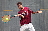 Kenneth Goins, 16, of Coralville returns the ball during a Boys' 16 Singles match at the 2011 Baird Iowa Open tennis tournament at Veterans Memorial Tennis Center in Cedar Rapids on Wednesday, July 27, 2011. Over 200 players from Colorado, Illinois, Iowa, and South Dakota, participated in the event.