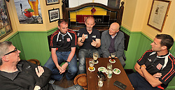 Westport United gathering 10 years On from the famous FAI Junior Cup win in 2005 Padraig Burns, Martin McGreal, Kevin Cusack, Sean McKenna and Brian Kennedy.<br /> Pic Conor McKeown