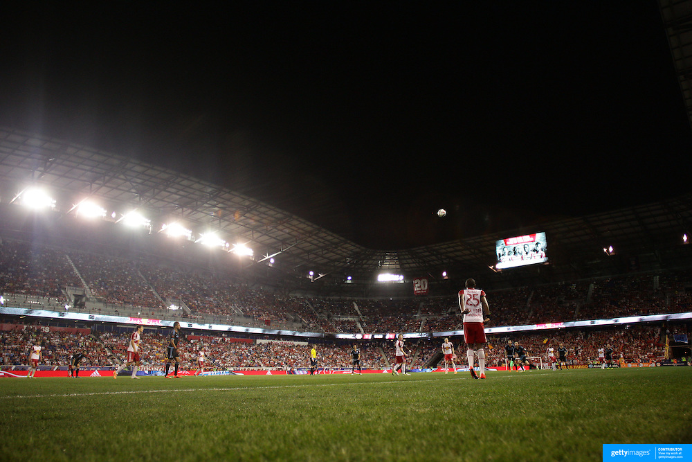 Chris Duvall, New York Red Bulls, take a thow in with a backdrop of a packed Red Bull Arena during the New York Red Bulls Vs NYCFC, MLS regular season match at Red Bull Arena, Harrison, New Jersey. USA. 10th May 2015. Photo Tim Clayton