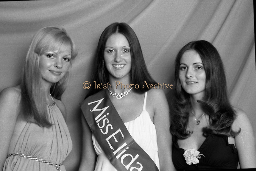 """""""Miss Elida"""" Final At Mosney, Co Meath..1976..01.09.1976..09.01.1976..1st September 1976..The final of the """"Miss Elida"""" lovely hair competition was held in The Gaiety Theatre,Butlins Holiday Centre,Mosney,Co Meath tonight. The competition is sponsored by Lever Bros,Sheriff St,Dublin. The shows compere was Mr Mike Murphy..Pictured (from left) Ms Rosaleen Battles,Kildimo, Co Limerick, (second), Ms Frances Campbell,Culmore Road, Derry (winner) and Ms Fidelma Feeney, Foxrock, Co Dublin who was third in the competition."""
